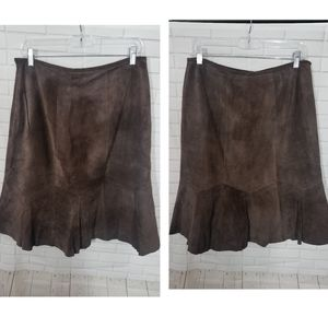 Alfani Brown Suede Leather Skirt